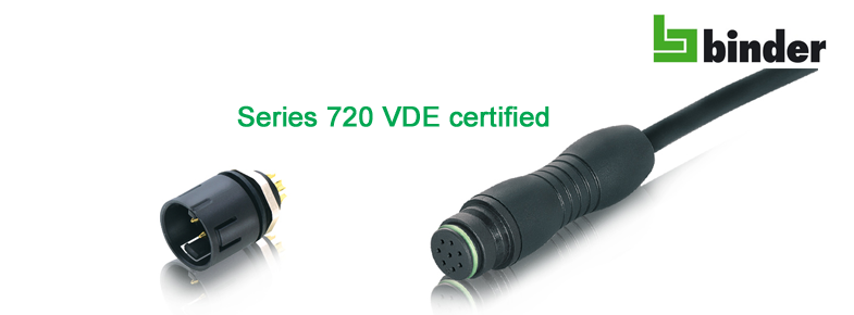 Connector series 720 from Binder now VDE certified